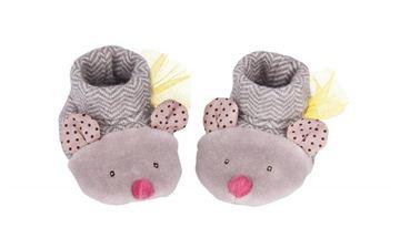 Снимка на Moulin Roty - Бебешки пантофки в сив цвят - Мишлета - от 0 до 6 месеца